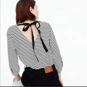 JCrew Striped Tie Back Top
